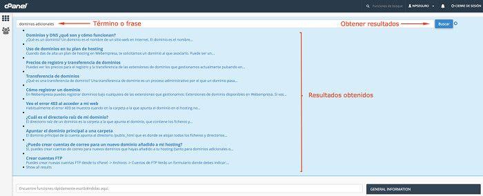 Búsqueda de dominios adicionales en FAQs
