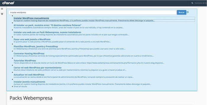 Búsqueda instalar WordPress