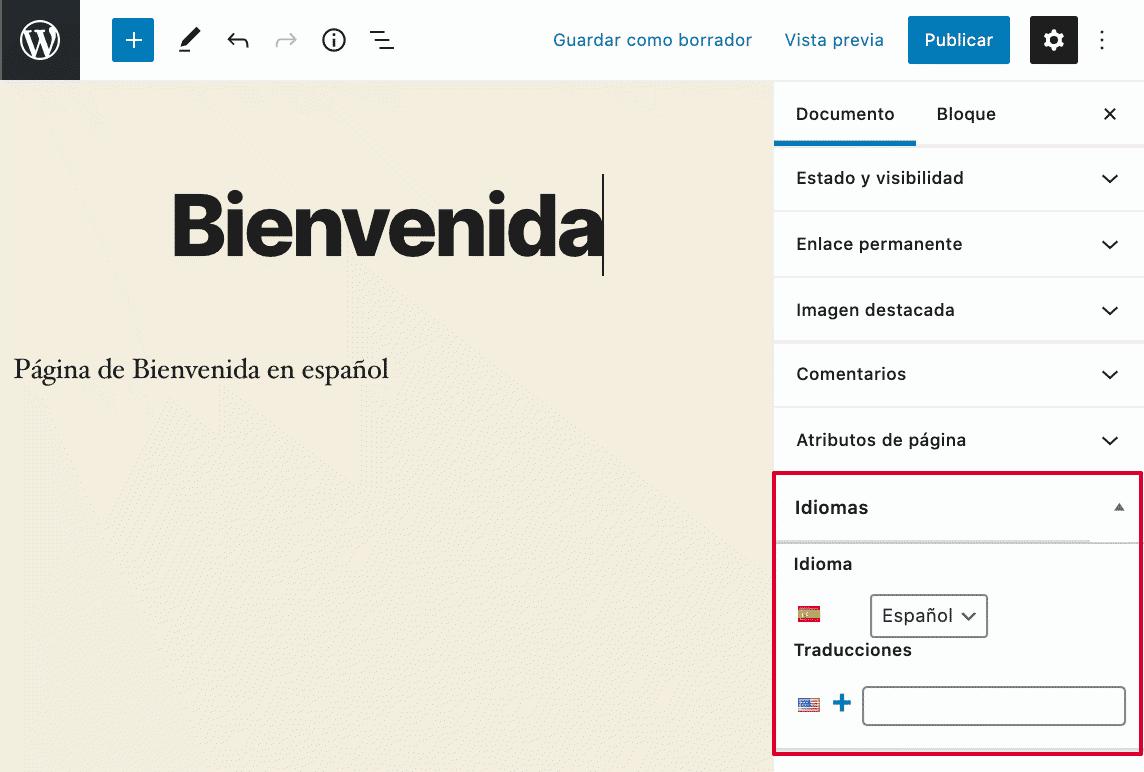 Traducción de página con Polylang