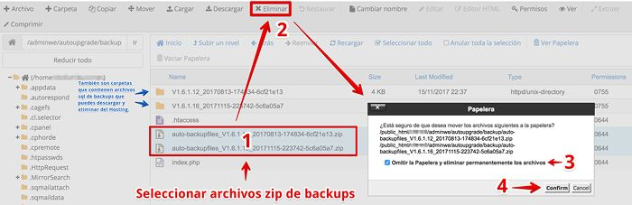 Eliminar backups de autoupgrade