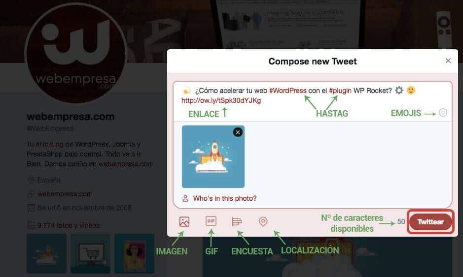 Componentes para escribir un tweet