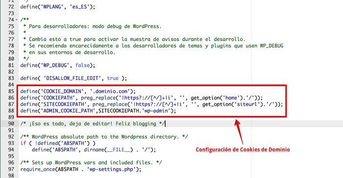 Configuración de cookies en wp-config.php