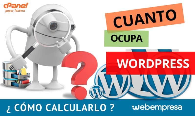 cuanto ocupa WordPress
