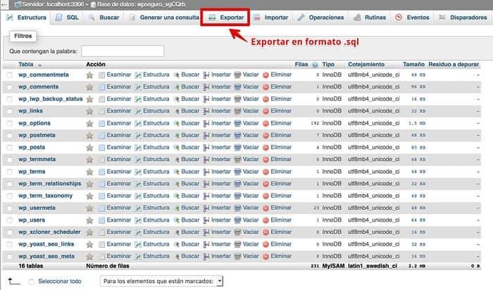 Exportar base de datos desde phpMyAdmin