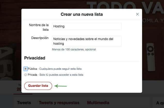 Guardar una lista de Twitter