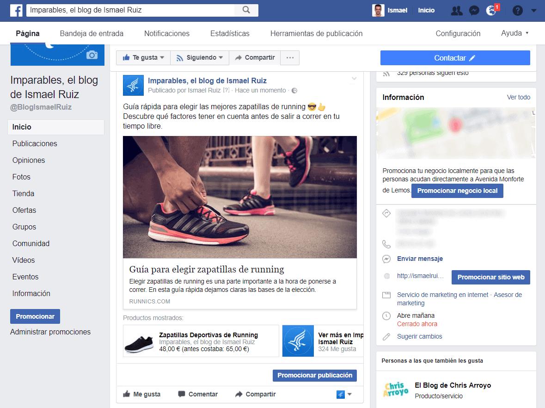 Productos publicados en tu tienda online en Facebook