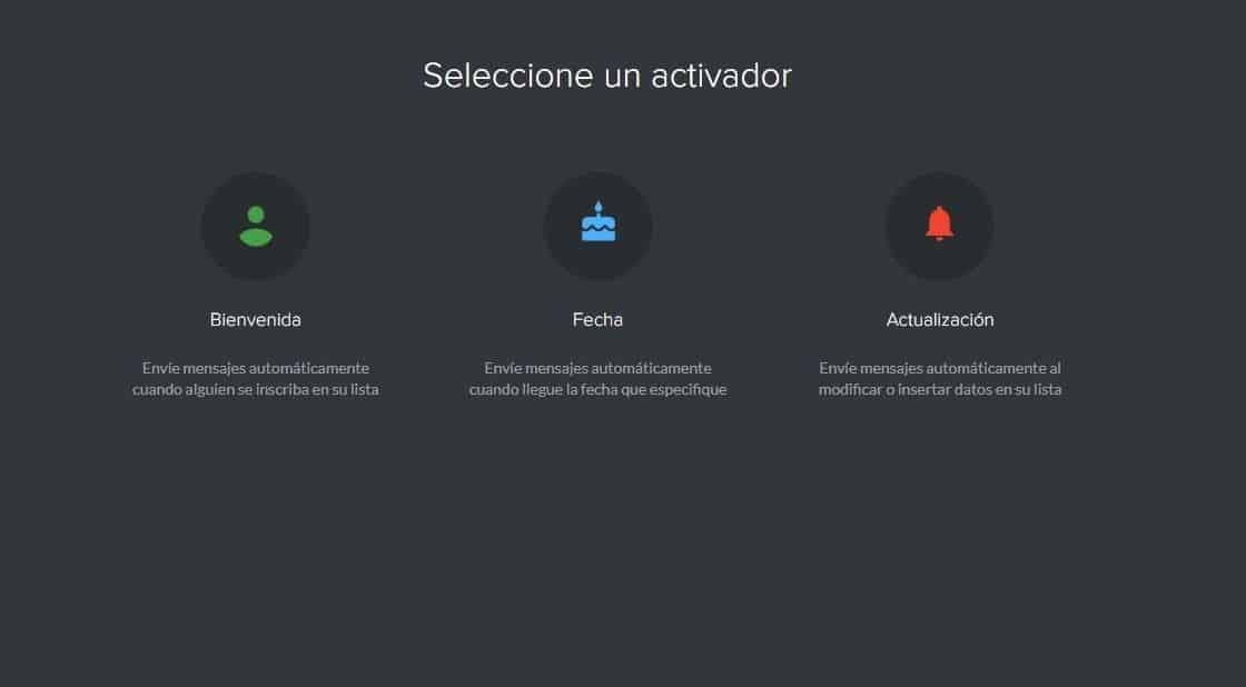 Seleccionar activador en Mailify Sunrise