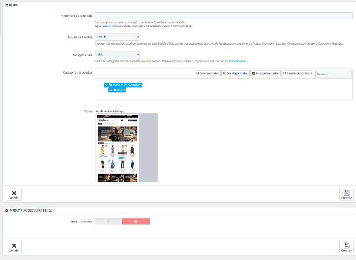 Sección tienda y sección de importar datos de otra tienda