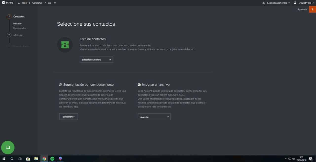 Seleccionar contactos en Mailify Sunrise