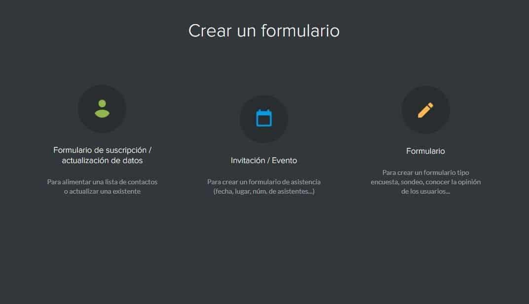 Tipos de formulario en Mailify Sunrise