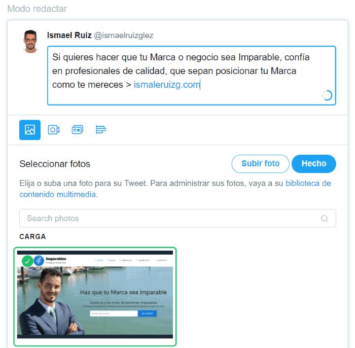 Ejemplo de tweet personalizado en Twitter Ads