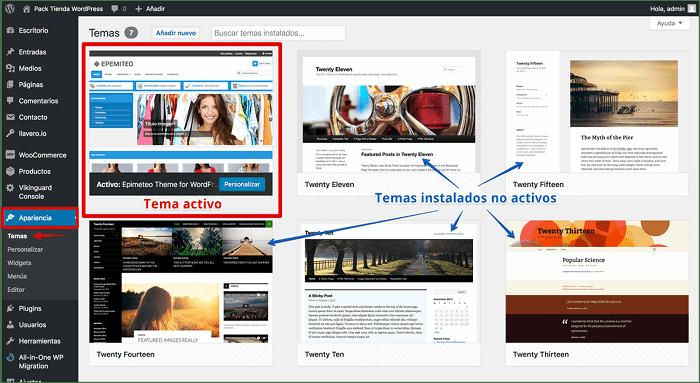 Eliminar temas desde el dashboard de WordPress