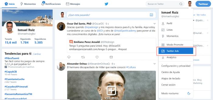 Entrar en Twitter Ads