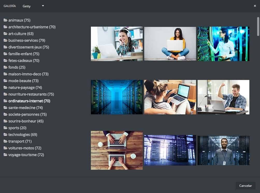 Galería de imágenes en Mailify Sunrise