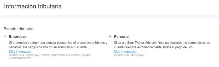 Información tributaria en Twitter Ads