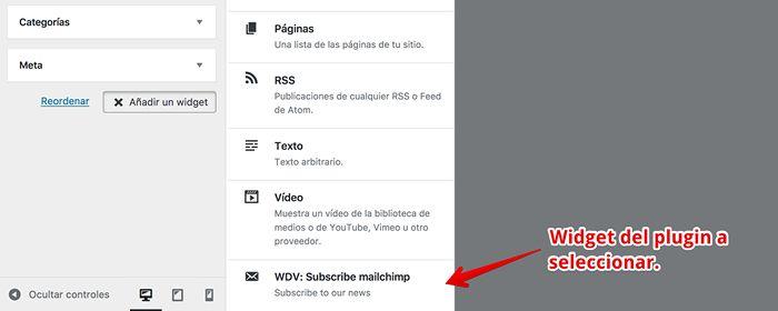 Localiza el widget del plugin WDV Mailchimp Ajax