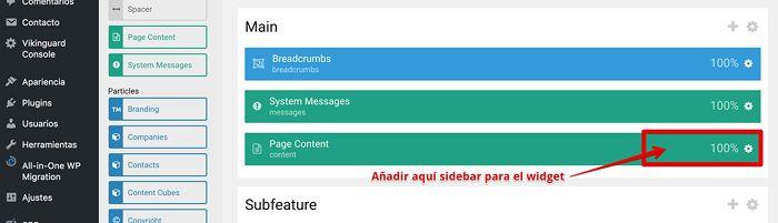 Posición junto a Page Content