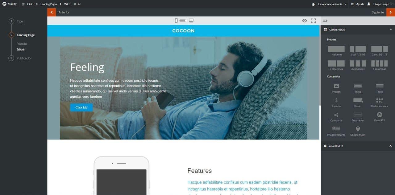 Página responsive en Mailify Sunrise
