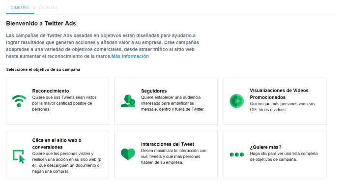 Pantalla de bienvenida de Twitter Ads