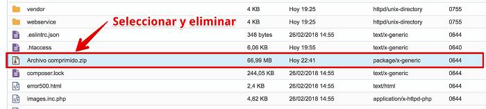 Eliminar archivo zip del Hosting