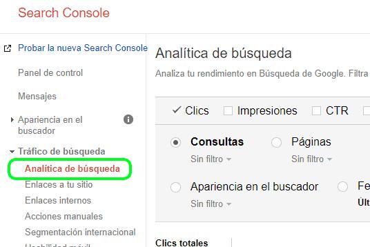 Menú de análisis de búsqueda en Google