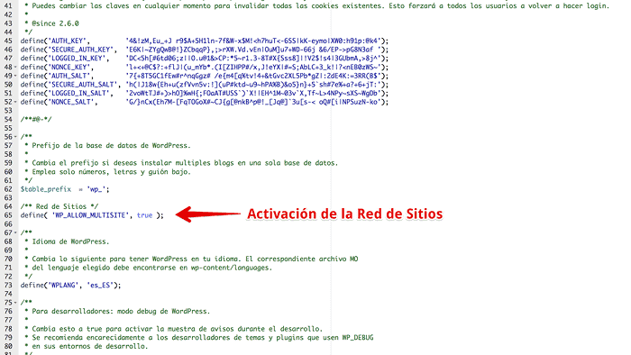 define en wp-config.php