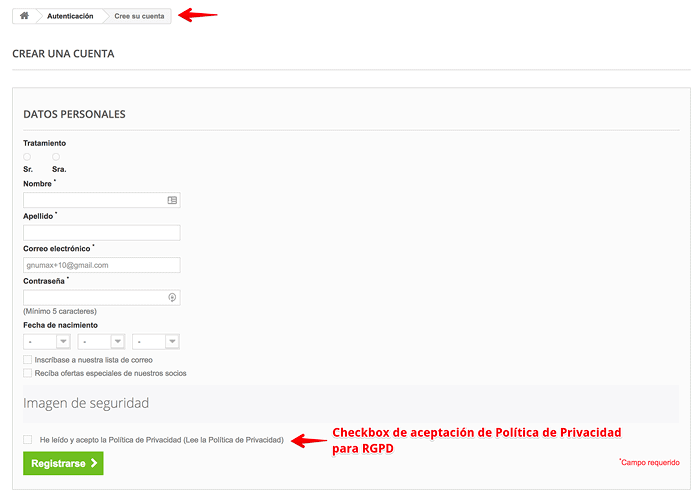 Checkbox en formulario de Registro