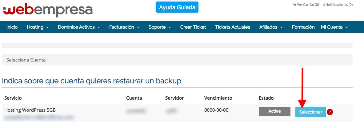 Seleccionar plan de hosting para hacer backup