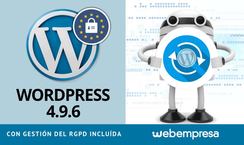 WordPress 4.9.6 con gestión de RGPD