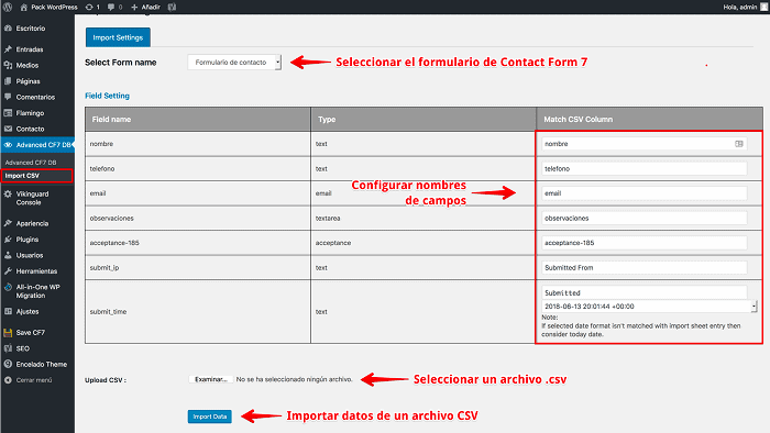 Configurar Import CSV