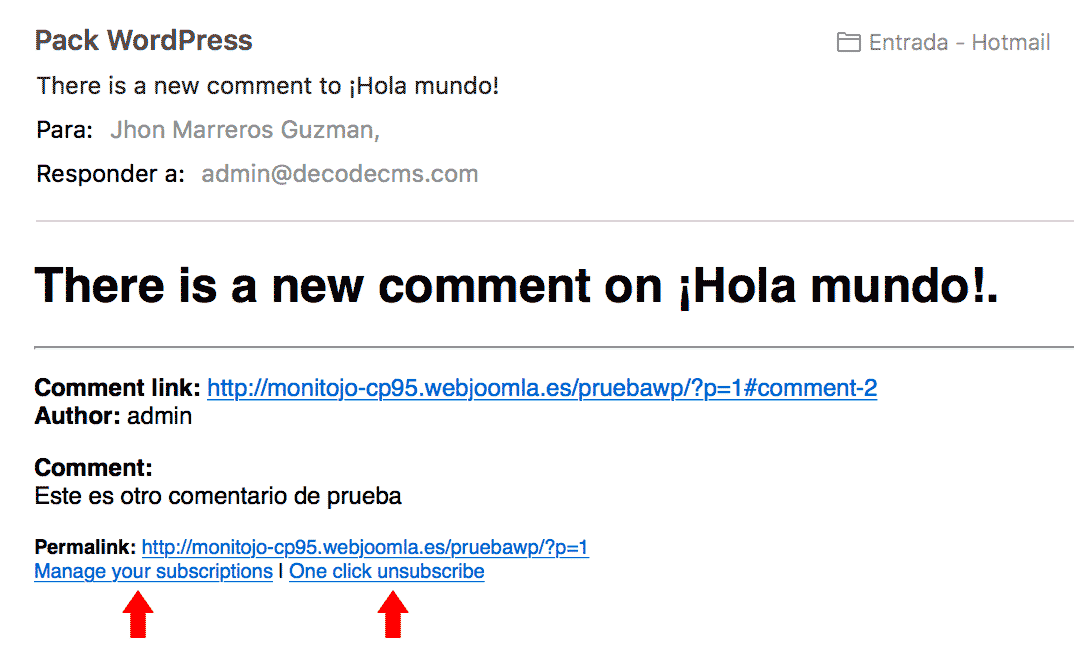 correo de notificación nuevo comentario