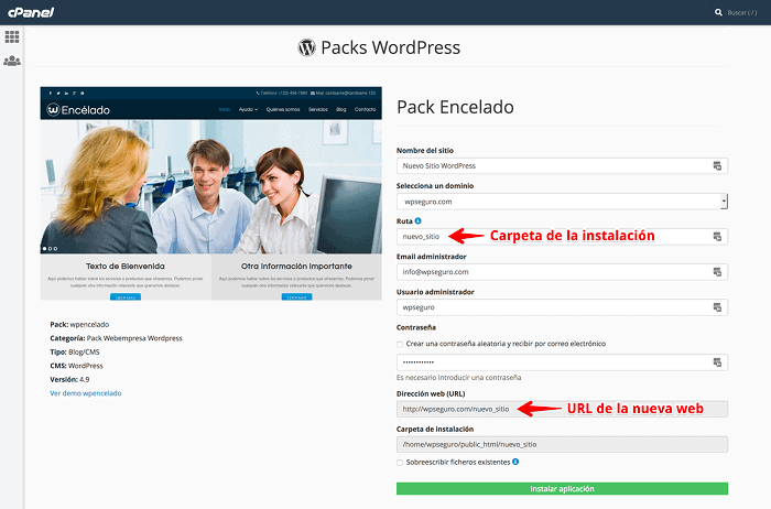 Configuración del instalador de Packs WordPress