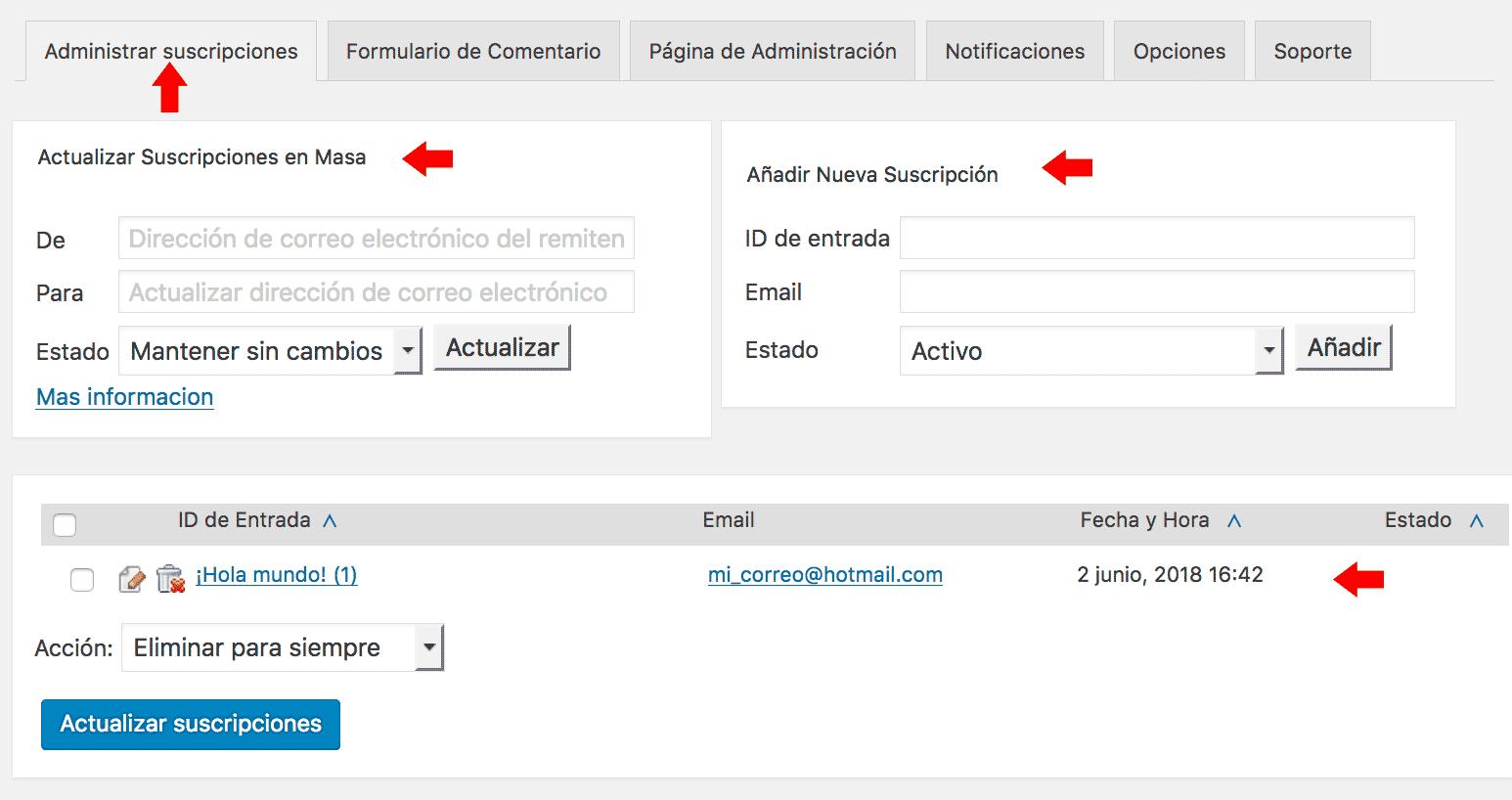 administrar suscripciones