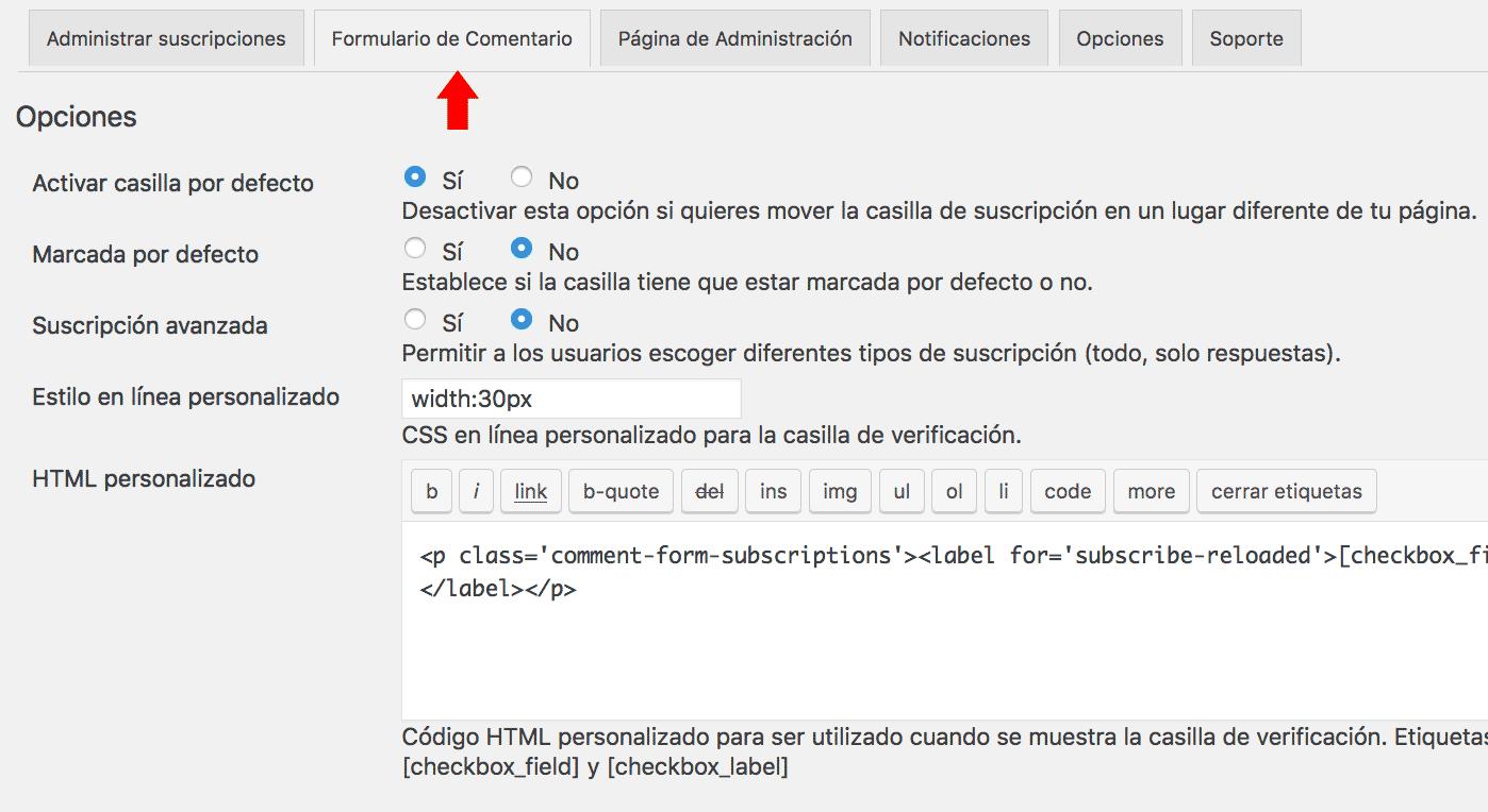 Formulario de comentario configuraciones