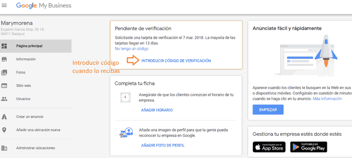 Google My Business: verificar cuenta
