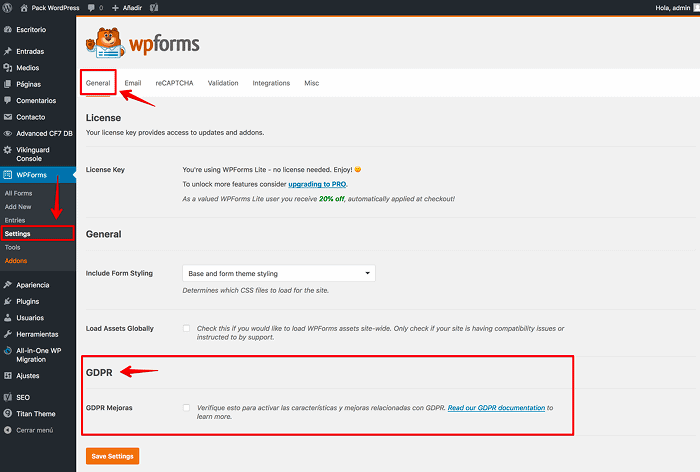 Settings, WPForms, General, GDPR