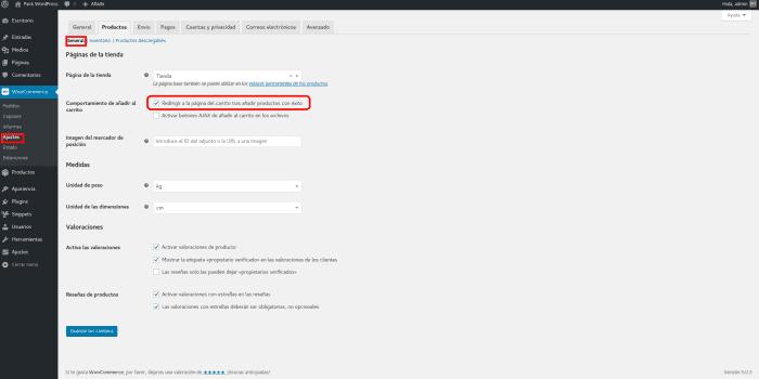 Opción Redirigir a la página del carrito tras añadir productos con éxito