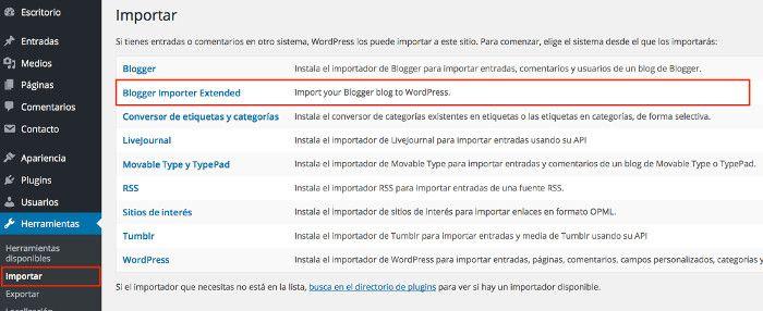 Plugin Blogger Importer Extended
