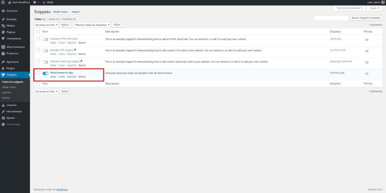 Asegurarse de que el bloque WooCoomerce Ajax está activado