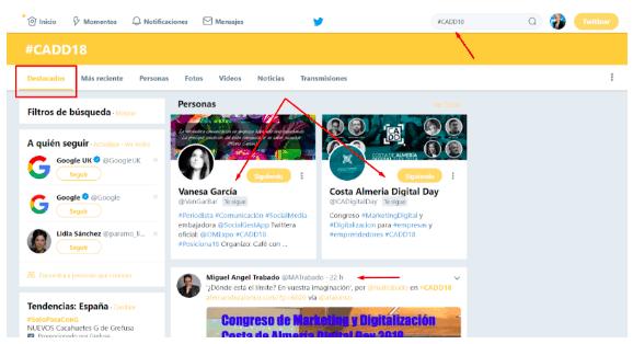 Ejemplo de crear hashtag para evento