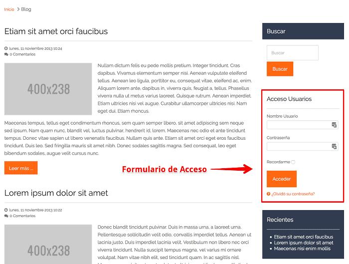 Vista frontal con Formulario de Acceso
