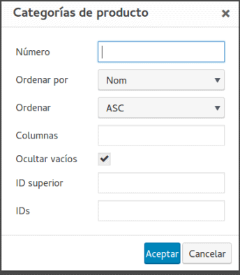 Plugin WooCommerce Shortcodes opciones