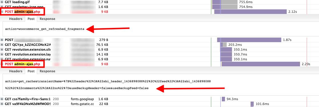 Fichero admin-ajax.php en GTMETRIX