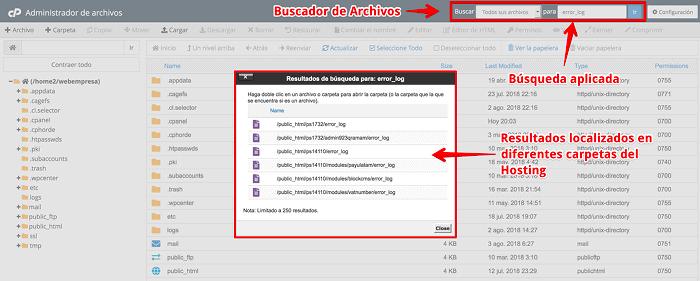 Resultados de búsqueda de archivos error_log