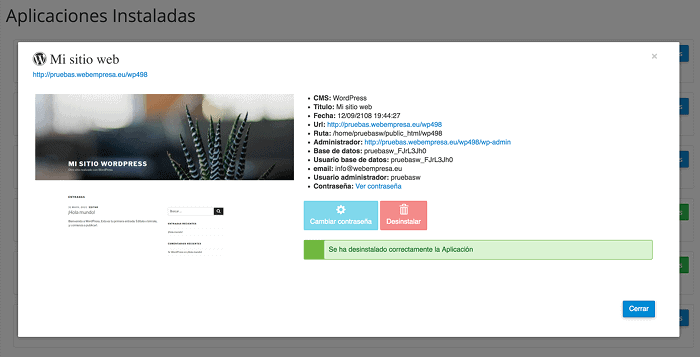 Desinstalar WordPress, Resumen