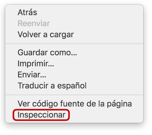 Botón inspeccionar en Chrome