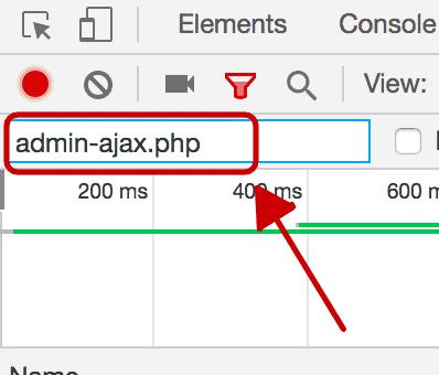 Escribe admin-ajax.php en la casilla filter