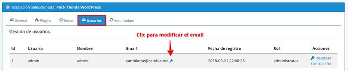 Cambiar email del Administrador