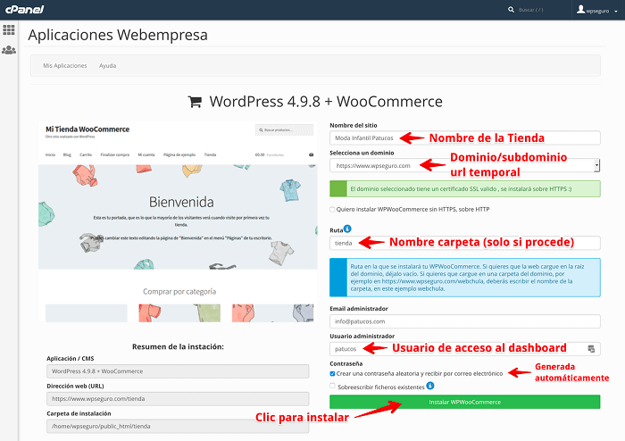Instalar WordPress + WooCommerce