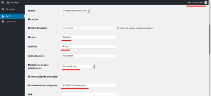 Modificación de la Información del usuario